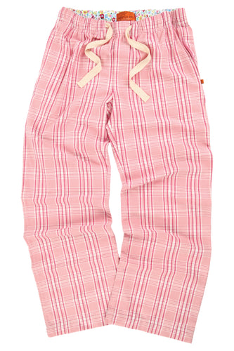 PENDLE Girls Pink Check PJ trousers for ages 9-16 years