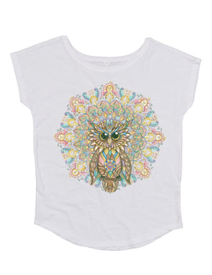 Ladies Owl Organic T-Shirt White