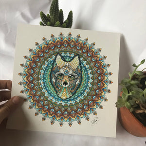 Wolf Watercolor Mandala Print