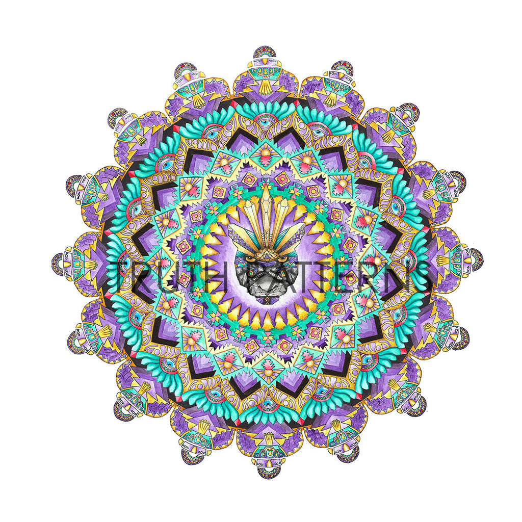 Black Puma Watercolor Mandala Print