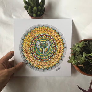 Elephant Watercolor Mandala Print