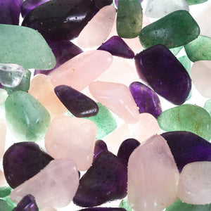 glow tritan - amethyst, rose quartz and green aventurine