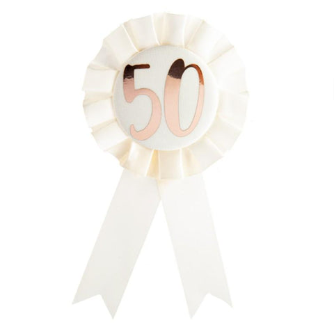 50th BIRTHDAY ROSE GOLD ON WHITE ROSETTE BADGE