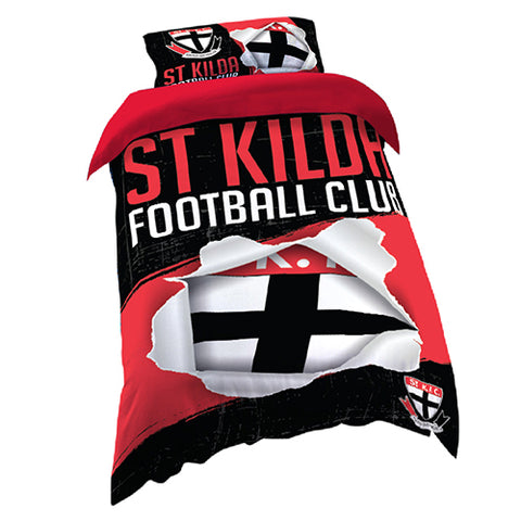 ST KILDS AFL SINGLE QUILT COVER SET