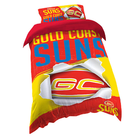 GOLD COAST SUNS AFL SINGLE QUILT COVER SET