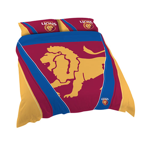 BRISBANE AFL QUEEN QUILT COVER SET