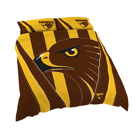 HAWTHORN AFL QUEEN QUILT COVER SET