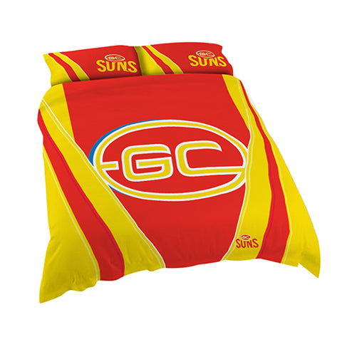 GOLD COAST SUNS AFL DOUBLE QUILT COVER SET