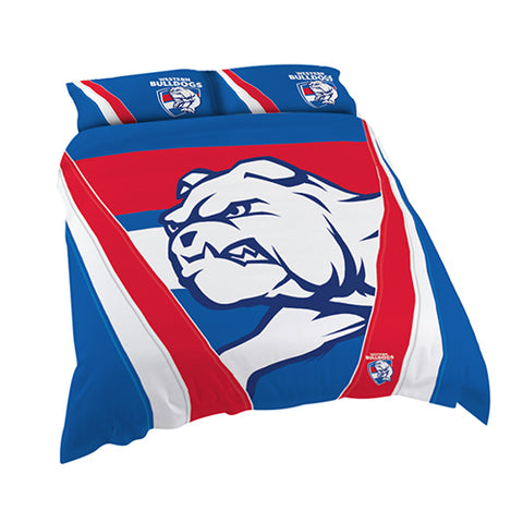 WESTERN BULLDOGS AFL QUEEN QUILT COVER SET