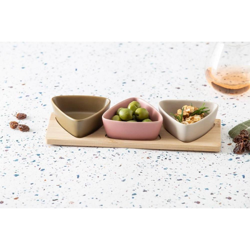 DAVIS & WADDELL AROMA BOWLS AND BAMBOO TRAY 4 PIECE