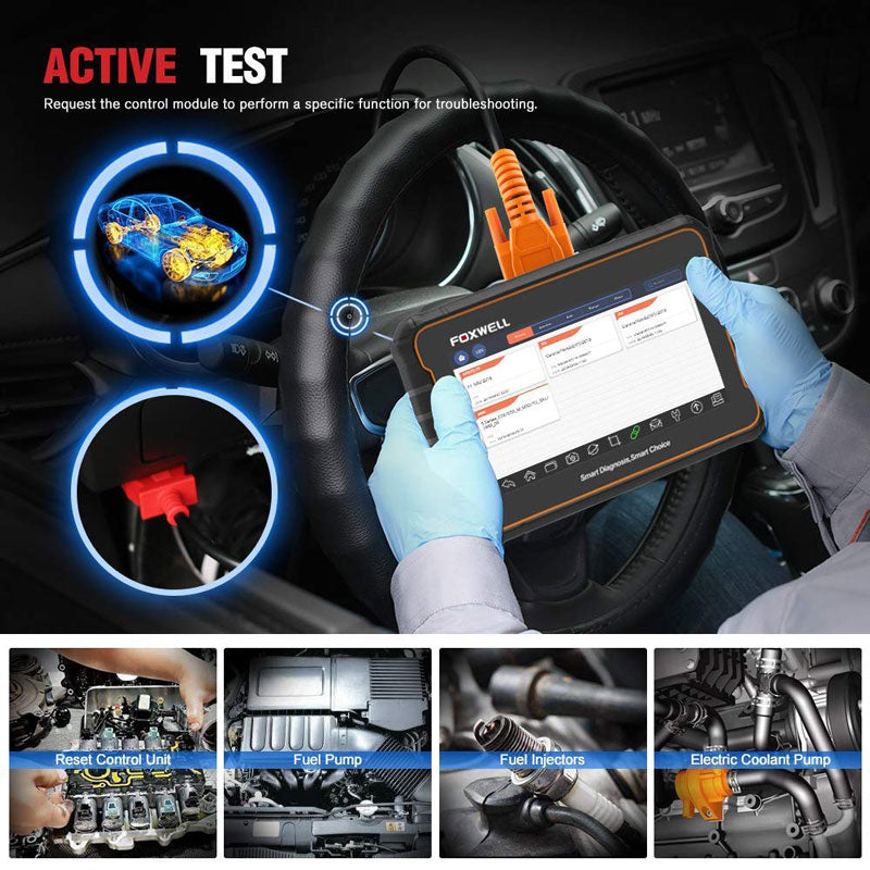 Active Test Bi-directional Control Foxwell GT60 Plus Bi-Directional OBD Android Tablet Scan Tool OE-Level Advanced All System Diagnostics with All Needed Service Functions ABS Auto Bleed TPMS Programming SAS BRT