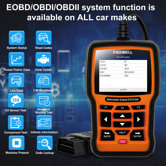 【US Stock】FOXWELL NT510 Elite for VAG Full Systems Diagnostic Scanner on VW Audi Seat Skoda All Special Service Functions with Active Test