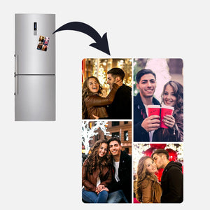 Custom Couple Photo Personalized Fridge Magnet-4 Photos