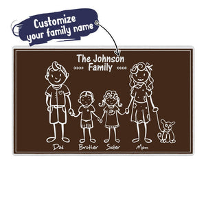 Custom Family Name Doormat-lovely Family of 5 Doormat-Black Mats