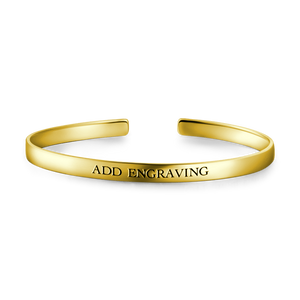 14K Gold Plated Engravable Cuff Bangle