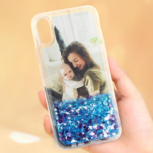 Custom Blue Quicksand Photo iPhone Case