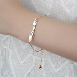 Personalized Angel Wings Name BraceletRose Gold Plated
