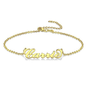 Custom Name Anklet Personalized Jewelry 14K Gold Plated