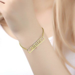 Hollow Carved Bar Name Bracelet with Custom Birthstone 14K Gold Plated