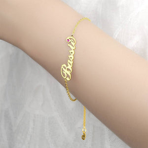 Personalized Birthday Gift Name Bracelet with Custom Birthstone 14k Gold Plated Golden