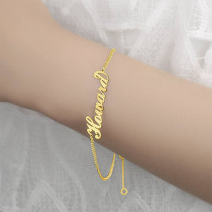 Personalized Name Bracelet Any Name Bracelet 14k Gold Plated Golden