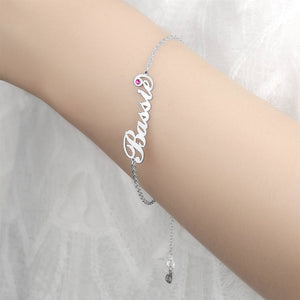 Personalized Birthday Gift Name Bracelet with Custom Birthstone Platinum Plated Silver