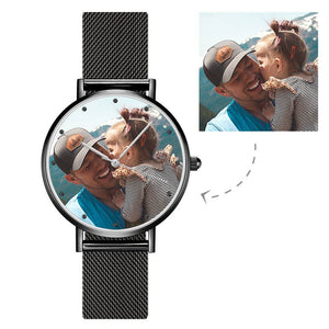 Engraved Men's Black Alloy Bracelet Photo Watch 40mm