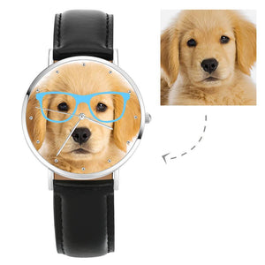 Unisex Photo Watch with Blue Frame Black Leather Strap 40mm