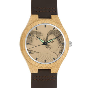 Custom Men's Engraved Bamboo Wooden Photo Watch