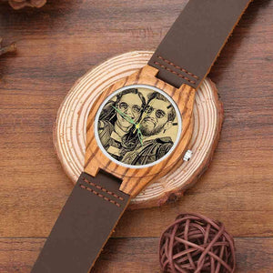 Men's Engraved Wooden Photo Watch Brown Leather Strap 45mm