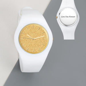 Unisex Silicone Engraved Watch Unisex Engraved Watch 41mm White Strap - Golden