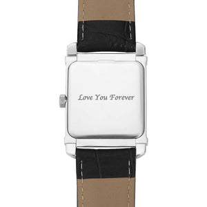 Men's Engraved Photo Watch 40*33mm Black Leather Strap - Sketch