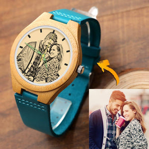 Men's Engraved Wooden Photo Watch Blue Leather Strap - Bamboo