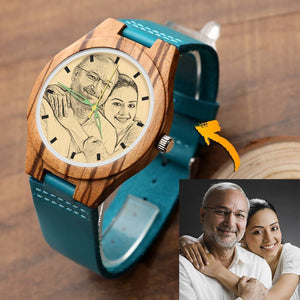 Wooden Watch - Men's Engraved Wooden Stripe Photo Watch Blue Leather Strap