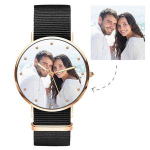 Engraved Watch, Photo Watch with Luminous Pointer Black Strap - Men's