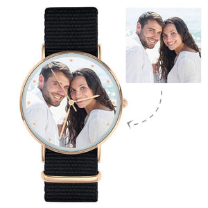 Custom Women Photo Engraved Watch with Black Strap