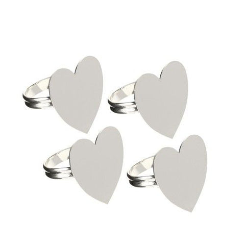 Heart Shape Set of Silver Plate Napkin Rings