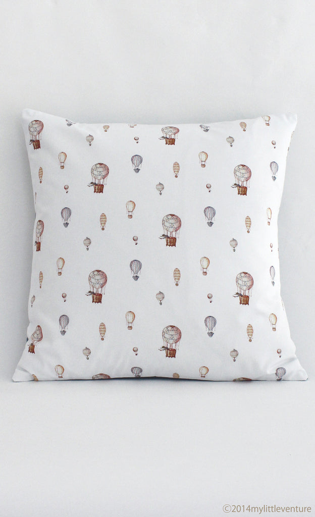 Cushion - Hot Air Balloons on white