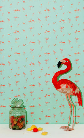 Wallpaper - Pink Flamingos on aqua
