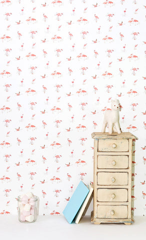 Wallpaper - Pink Flamingos on white