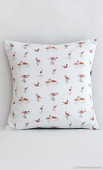 Cushion - Pink Flamingos on white