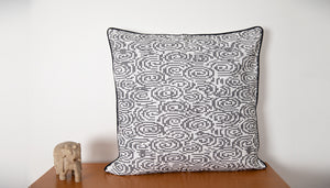 Abstract Maze Embroidered Cushion Cover