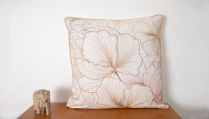 Embroidered Golden Threaded Dahlia Cushion Cover
