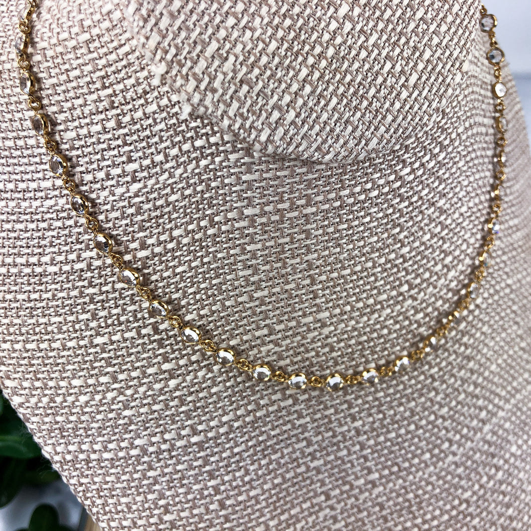 Gold Plated Chanelle Necklace - Swarovski Crystal Jewelry