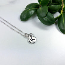 Load image into Gallery viewer, Dainty Initial Necklace - Silver Plated with White Crystal