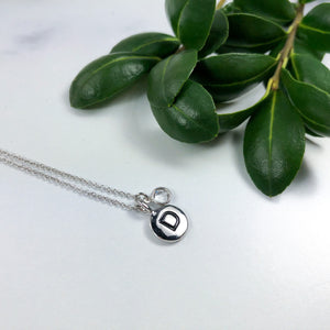 Dainty Initial Necklace - Silver Plated with White Crystal