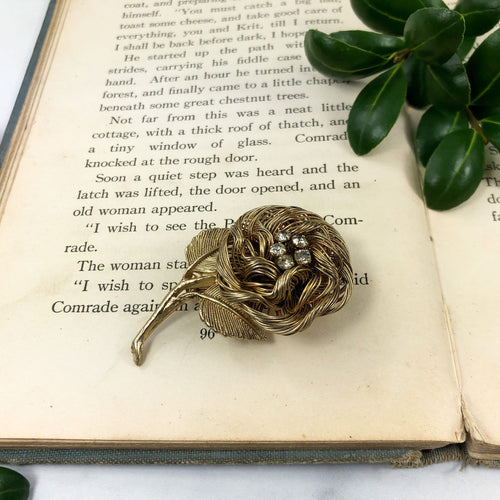 Gold Rose Brooch - Vintage Pin - Mid Century Jewelry