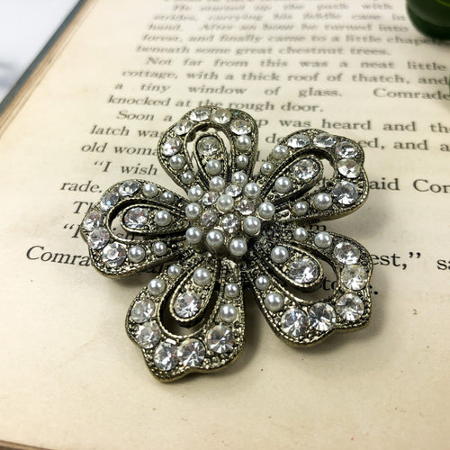 Large Flower Brooch - Pearl and Rhinestone - Costume Jewelry