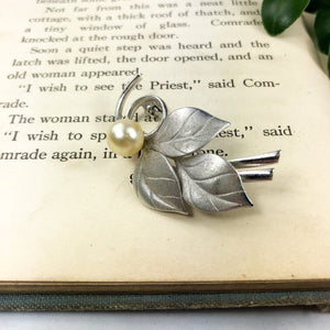 Silver Leaf Brooch - Womans Lapel Pin Fashion Jewelry