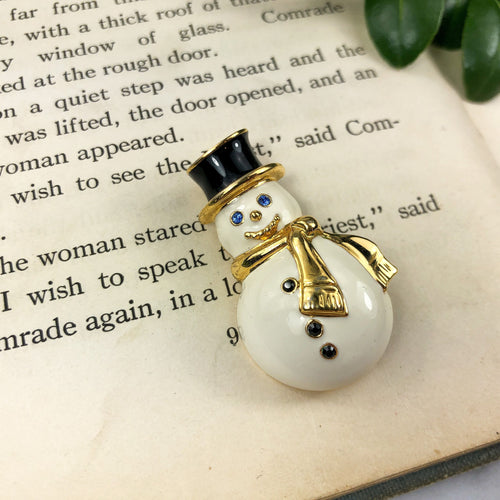 Snowman Pin Monet Jewelry - Winter Brooch